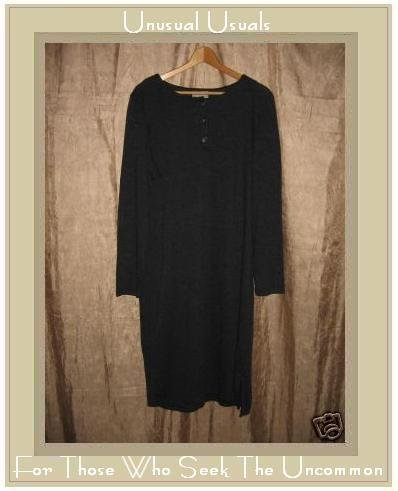 Coldwater Creek Long Charcoal Gray Knit Pullover Tunic Dress X-Large XL