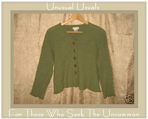 New NEESH by D.A.R. Cropped Green Wool Cardigan Sweater Small Medium S M
