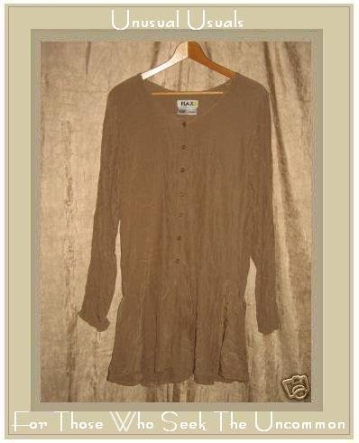 FLAX Jeanne Engelhart Long Peplum Tunic Top Shirt MEDIUM M