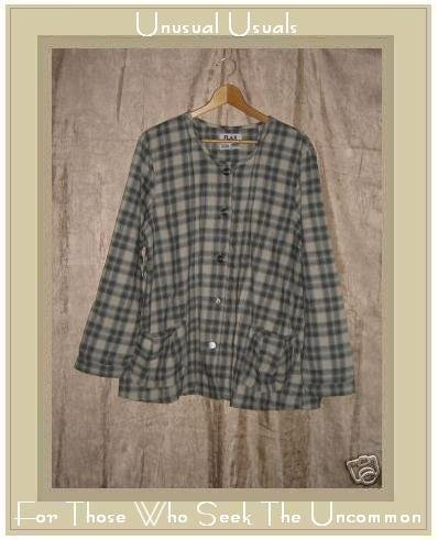 FLAX Soft Plaid Shirt Top Jeanne Engelheart Medium M