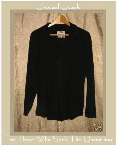 FLAX by Jeanne Engelhart Long Shapely Pocket Play Jacket Top Black Medium M