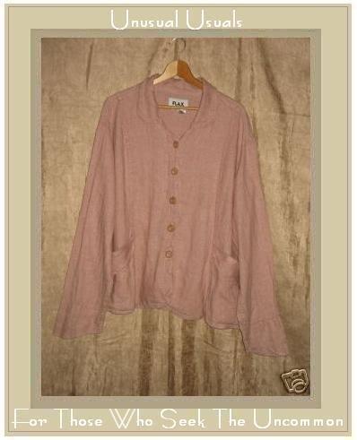 FLAX Pink Textured Linen Shapely Jacket Top Jeanne Engelhart 3G