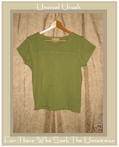 ROYAL ROBBIN Soft Green Cotton Tee Shirt Top Medium M