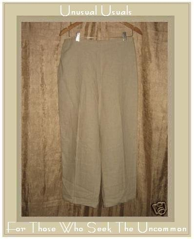 EDIE 7. Oatmeal LINEN & RAYON Long Pants Large L