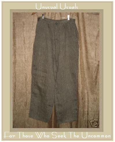 FLAX by  Jeanne Engelhart Bark Cloth LINEN Zipped Pants Medium M