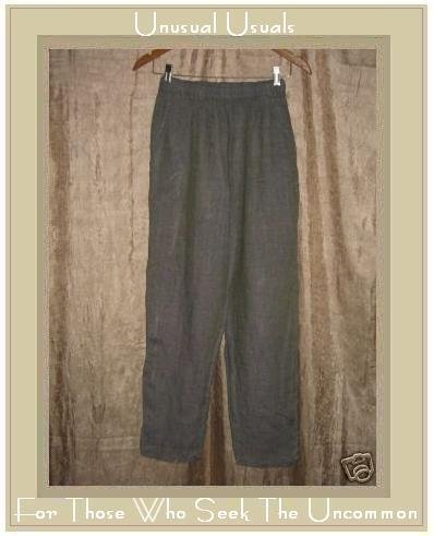 FLAX by Jeanne Engelhart Marine Grid LINEN Pants Petite P