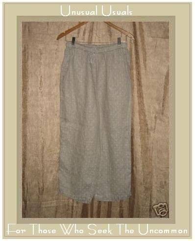 FLAX Taupe w Cream Dots LINEN FLOODS Pants Jeanne Engelhart Medium M