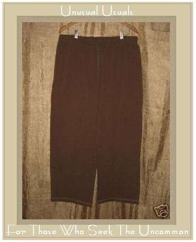 reFLAXation Chocolate Brown Cotton Yoga Pants Jeanne Engelhart FLAX Large L