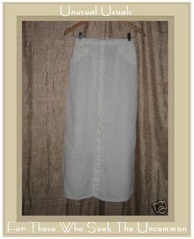 FLAX by Jeanne Engelhart White LINEN Skirt Small S