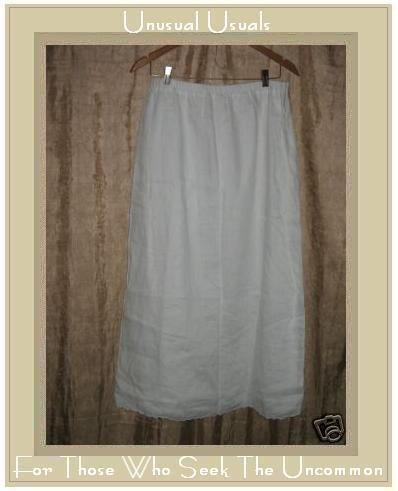 WEAVZ Long & Full Floaty White Layered Linen Skirt Large L