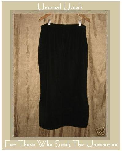 FOCUS Long Black Tencel Drawstring Skirt Medium M