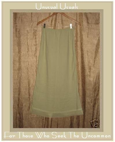 Real Comfort Long Leafy Green Tulle Trimmed Skirt Medium M