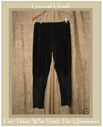 FLAX by Jeanne Engelhart BLACK VELOUR Leggings Pants Small S