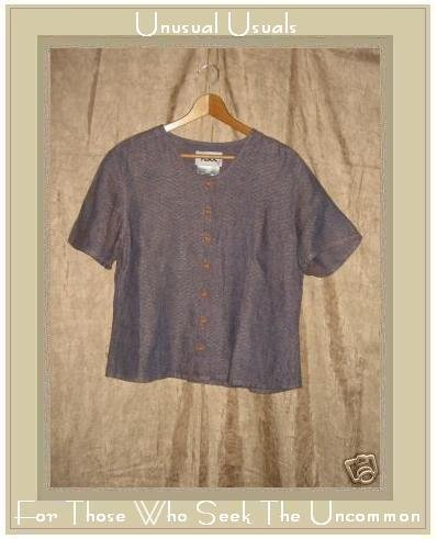 FLAX Purple Textured LINEN Button Shirt Top Jeanne Engelhart Small S