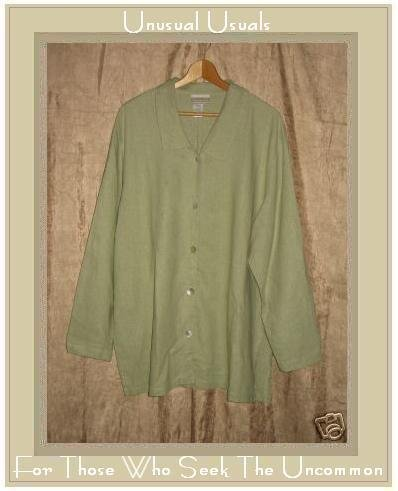 Coldwater Creek Green LINEN RAYON Button Shirt Tunic Top 2X