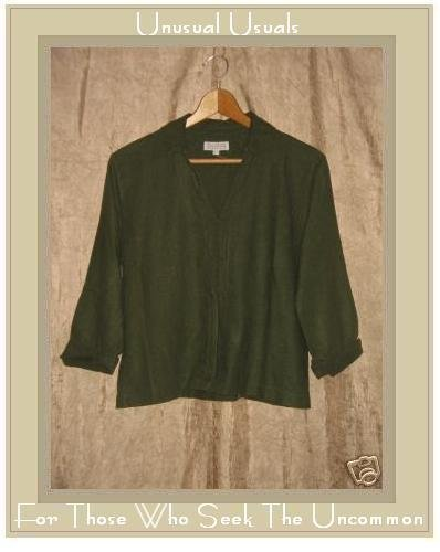 Basic Threads Olive Green LInen Shapely Tunic Top Pullover Shirt Small S