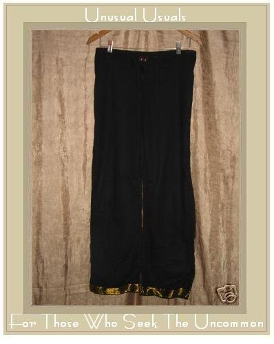 FUNKY PEOPLE Soft Black Cotton Drawstring Pants Small S