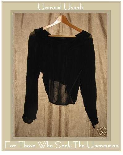 MAGAZINE Lovely Sheer Black Fluttery Shirt Tunic Top Medium M
