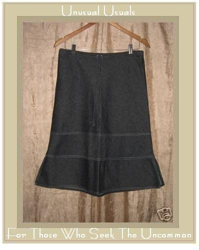 SOLITAIRE Cute Black Denim Drawstring Skirt Medium M
