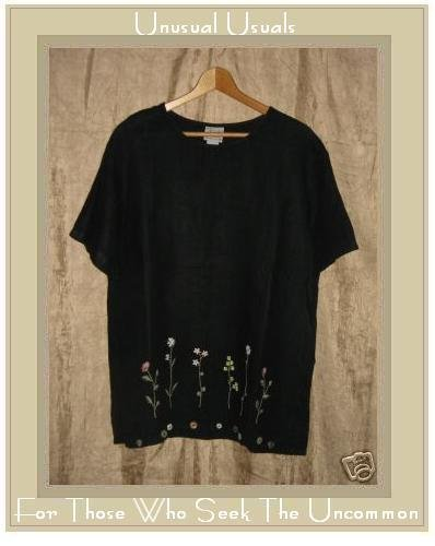 DONNA Embroidered Black Linen Pullover Shirt Tunic Top Medium M