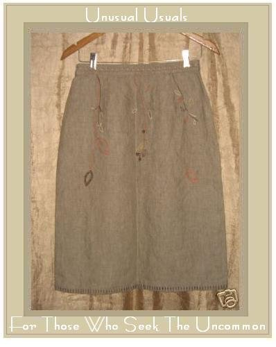 J. JILL Earthy Embroidered LINEN Leaf Skirt Size 8