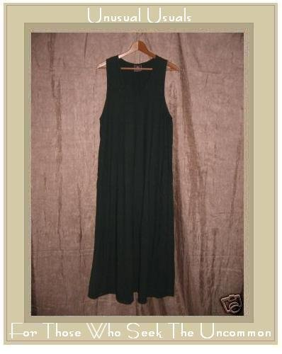 California Drawstrings Long Green Cotton A-line Dress Small S