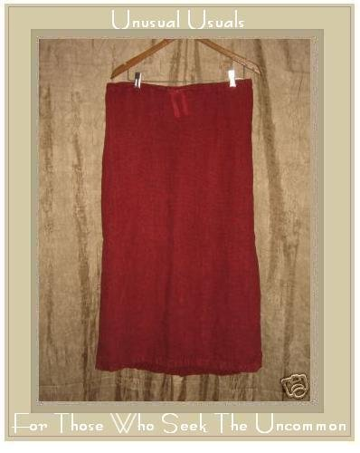 Somewhat Funky Liz & Jane Long Red Striped Linen Drawstring Skirt Large L