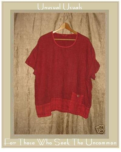 Somewhat Funky Liz & Jane Red Linen Pullover Shirt Tunic Top Large L