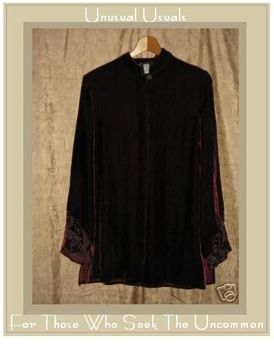 Provence d'amour Long Burgundy Velvet Tunic Top Shirt Medium M