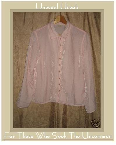 J. Jill Soft Pink Rayon Velvet Button Shirt Top Small S