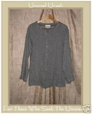 EILEEN FISHER New York Long Gray Tunic Top Jacket Large L