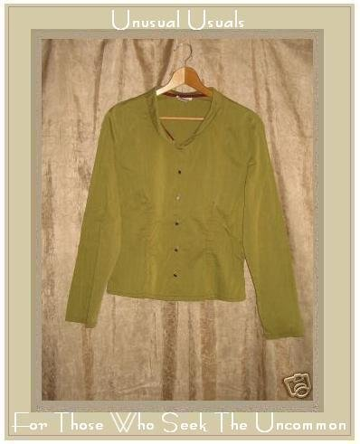 NEESH by D.A.R. Funky Shapely Green Button Shirt Top Large L