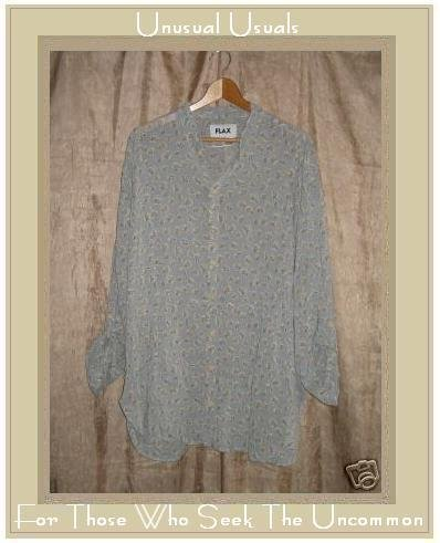 Flax Skirted Floral Tunic Shirt Jeanne Engelhart Small S