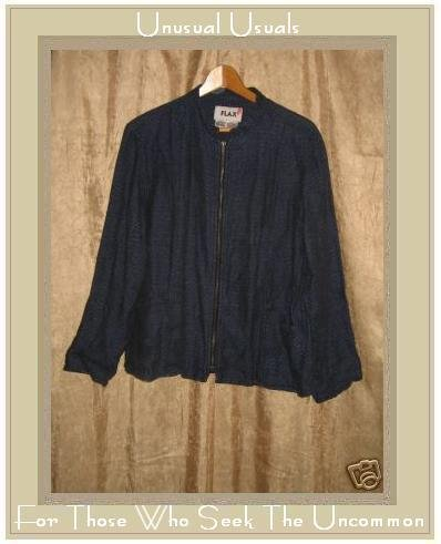 FLAX by Jeanne Engelhart Boxy Blue Linen Zipper Jacket SMALL