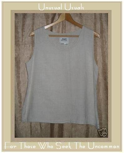 FLAX Jeanne Engelhart Linen Pin Tuck Tank Top Shirt Medium M