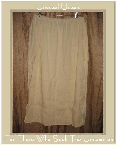 EILEEN FISHER Long Fluttery Cream IRISH LINEN Layered SKIRT Large L