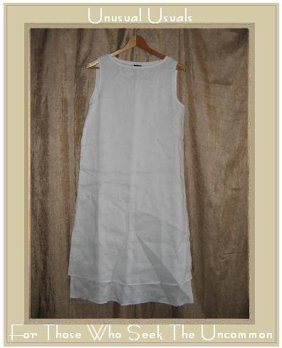 Eileen Fisher Long White Layered Irish Linen Dress Small S