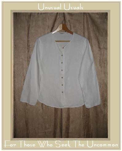 J. Jill White LINEN Button Shirt Tunic Top X-Small Petite XSP