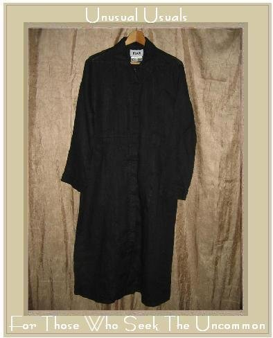 FLAX long Black LINEN Belted Jacket Coat Jeanne Engelhart Small S