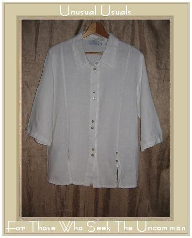 WILLOW White Shapely LINEN Button Shirt Tunic Top Medium M