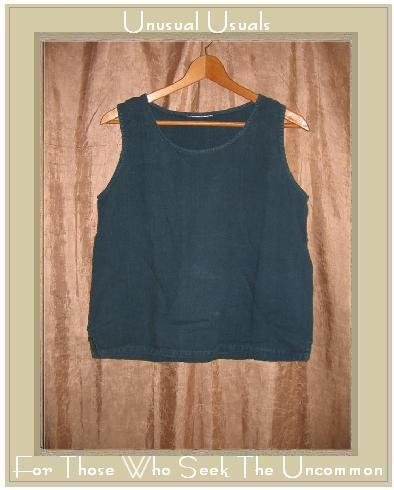 HOT COTTON Jewel Blue LINEN Tank Top Shirt Small S