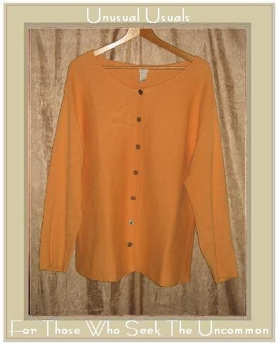 J. Jill Orange Cotton Knit Cardigan Sweater Tunic Top Large L