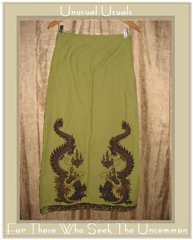 FREE PEOPLE Long Shapely Green Dragon Skirt Size 5 / 6