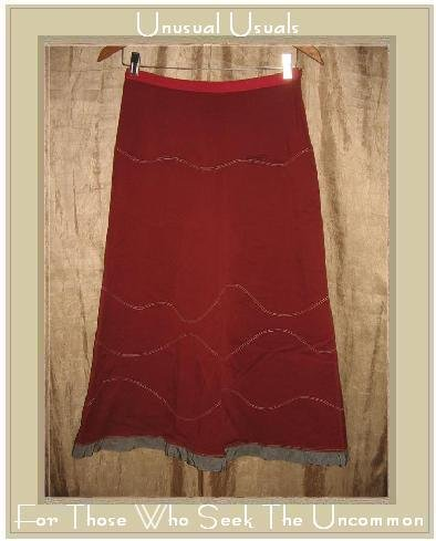 Neesh by D.A.R. Brick Red Ribbon Trimmed Skirt Small S
