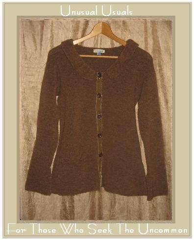NEESH by D.A.R. Softest Brown Wool Velvet Ribbon Cardigan Sweater Small S