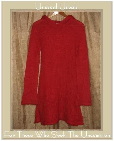 LUCIDITY Long Red Hooded Tunic Sweater Large L