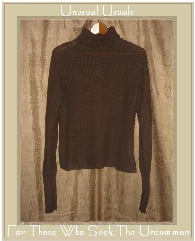 CUT LOOSE Brown Cotton Knit Turtleneck Sweater Tunic Top Small Medium S M