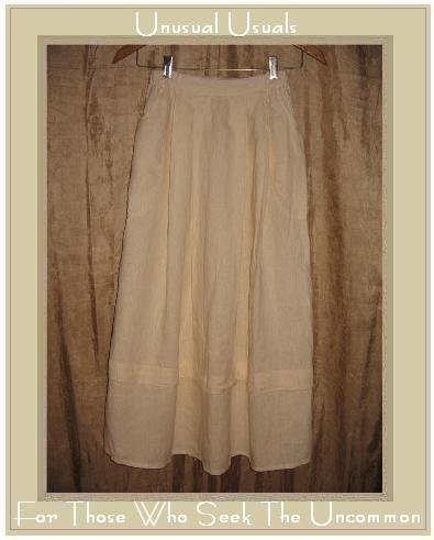 FLAX Long & Full Textured Cream  LINEN Skirt by Jeanne Engelhart Petite P