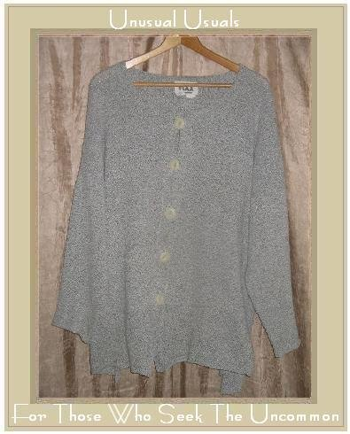 FLAX by ANGELHEART Soft Gray Peplum Cardigan Sweater Jeanne Engelhart M L