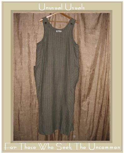 FLAX Long Striped LINEN Jump Dress Jeanne Engelhart Medium M